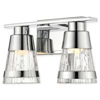 Filament Design Ethos 2-Light LED Wall Sconce in Chrome with Chisel Glass