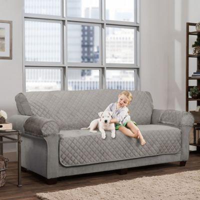 Smart Fit 3 Piece Waterproof Suede Sofa Cover In Grey