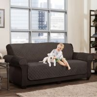 Smart Fit 3-Piece Waterproof Plush Sofa Cover in Chocolate