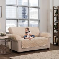 Smart Fit 3-Piece Waterproof Plush Loveseat Cover in Sand