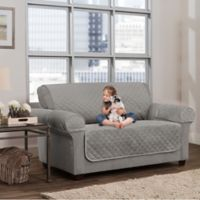 Smart Fit 3-Piece Waterproof Plush Loveseat Cover in Grey