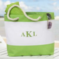 Colorful Name Embroidered Beach Tote in Green