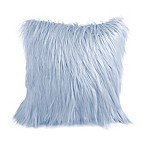 Flokati Faux Fur 18-Inch Square Throw Pillow in Blue