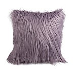 Flokati Faux Fur 18-Inch Square Throw Pillow in Purple