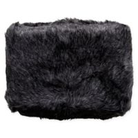 Surya Asena Faux Fur Throw Blanket in Black/Silver Grey