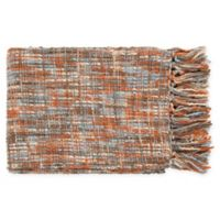 Surya Tabitha Throw Blanket in Burnt Orange/Pale Blue