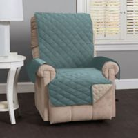 Great Bay Home Kaylee Reversible Quilted Recliner Cover in Blue/Silver