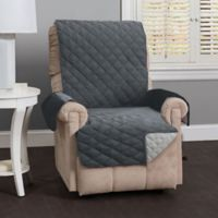 Great Bay Home Kaylee Reversible Quilted Recliner Cover in Light Grey/Dark Grey