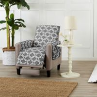 Great Bay Home Adalyn Reversible Quilted Recliner Cover in Charcoal