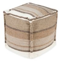 Surya Patch Pouf in Taupe/Tan