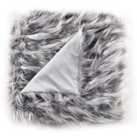 De Moocci Eyelash Faux Fur Throw Blanket in Grey
