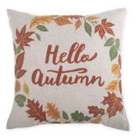 Hello Autumn Wreath Square Throw Pillow in Natural