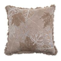 Leaves Embroidered Square Throw Pillow in Natural