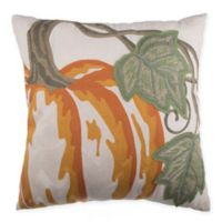 Pumpkin Embroidered Square Throw Pillow in Orange