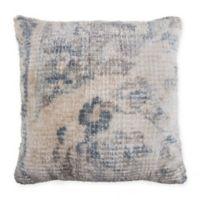 Talia Floral Square Throw Pillow in Blue/Cream