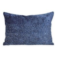 Starlight Beaded Rectangular Decorative Pillow in Navy