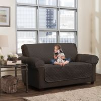 Smart Fit 3-Piece Waterproof Plush Loveseat Cover in Chocolate