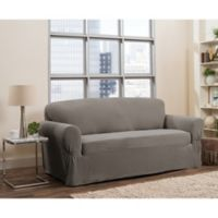 Smart Fit Tinsley 1-Piece Polyester Stretch Sofa Slipcover in Grey