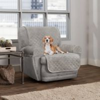 Smart Fit 3-Piece Waterproof Plush Recliner Cover in Grey