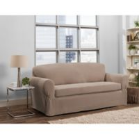 Smart Fit Tinsley 2-Piece Polyester Stretch Sofa Slipcover in Taupe