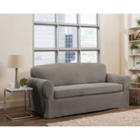 Smart Fit Tinsley 2-Piece Polyester Stretch Sofa Slipcover in Grey