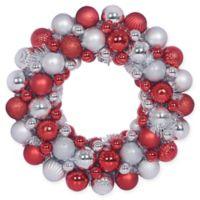 Private Label™ 18.5-Inch Red and Silver Ornament Wreath