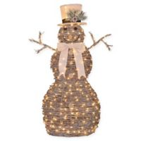Pre-Lit Rattan 4-Foot Christmas Snowman Decoration