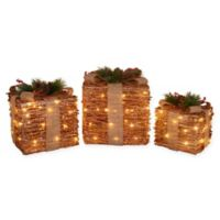 LED Decorative Ruby Rattan Gift Boxes (Set of 3)