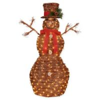 Pre-Lit Rattan 4-Foot Christmas Snowman Decoration in Ruby