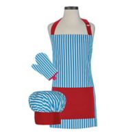 Handstand Kitchen Kid's 3-Piece Whimsy Apron Set in Teal/Red