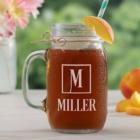 Square Monogram Glass Mason Jar