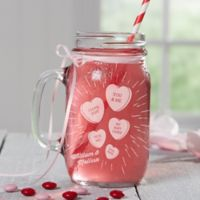 Conversation Hearts Glass Mason Jars