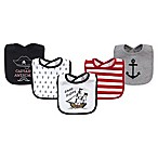 Hudson Baby® 5-Pack Pirate Drooler Bibs in Black