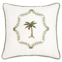 Martinique Embroidered 16-Inch Square Throw Pillow in Green/White
