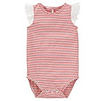 OshKosh B'Gosh® Size 9M Flutter Sleeve Striped Bodysuit in Red