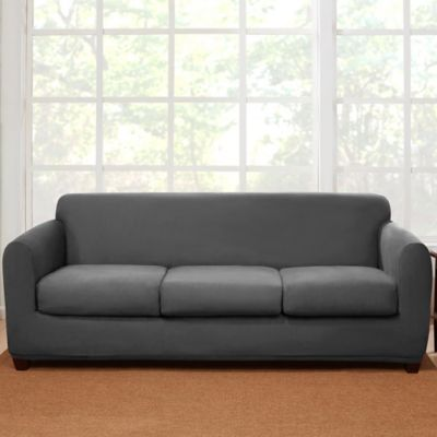 Sure Fit® 4 Piece Stretch Suede Sofa Slipcover In Grey