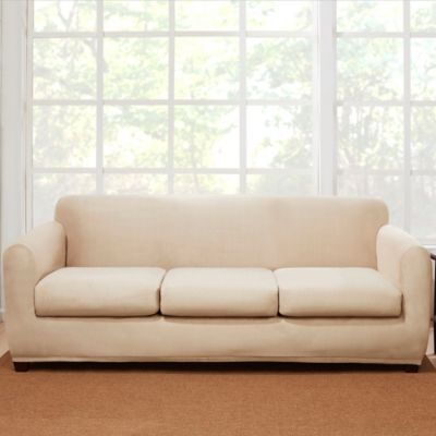 Sure Fit® 4 Piece Stretch Suede Sofa Slipcover In Cement