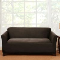 Sure Fit® Stretch Suede Loveseat Slipcover in Chocolate