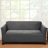 Sure Fit® Stretch Suede Loveseat Slipcover in Grey