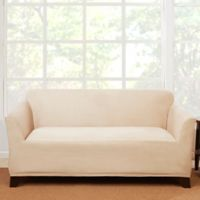 Sure Fit® Stretch Suede Loveseat Slipcover in Cement