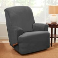 Sure Fit® Stretch Suede Recliner Slipcover in Grey