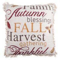 Harvest Words Square Throw Pillow in Natural