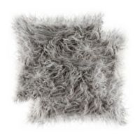 Frisco Mongolian Faux Fur Square Throw Pillows in Grey (Set of 2)