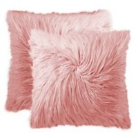Frisco Mongolian Faux Fur Square Throw Pillows in Rose (Set of 2)