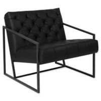 Flash Furniture Leather Upholstered Accent Chair in Black