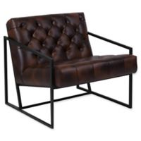 Flash Furniture Leather Upholstered Accent Chair in Brown