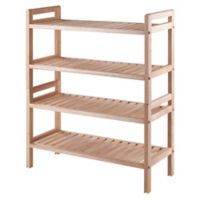 Winsome Mercury 2-Piece Stackable Shoe Rack in Natural