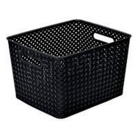 Simplify Large Resin Wicker Storage Tote in Black