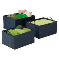 Honey-Can-Do® 3-Piece Paper Rope Woven Basket Set in Blue