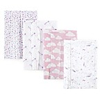 Hudson Baby® 4-Pack Magical Unicorn Flannel Burp Cloths in Pink  <br />